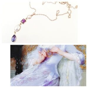 Necklace Purple Gold Pearl